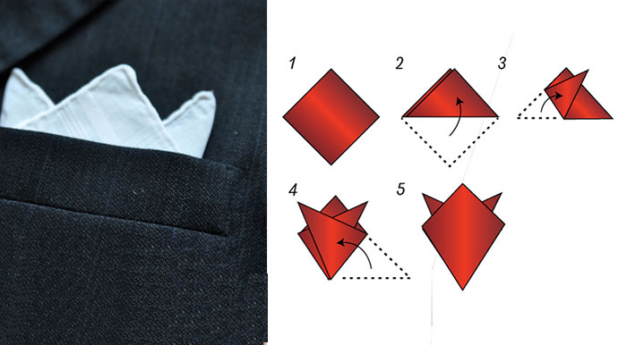 four point crown fold pocket square