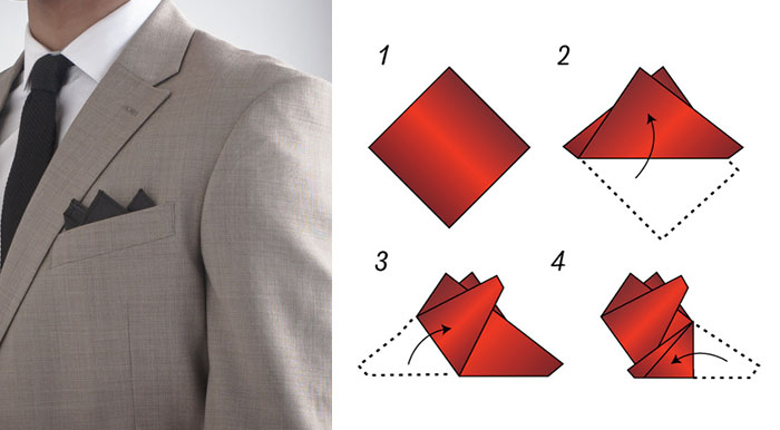 three point fold pocket square