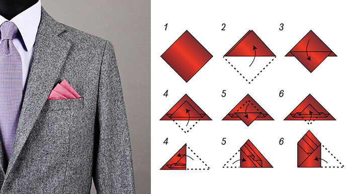 Three stair fold pocket square