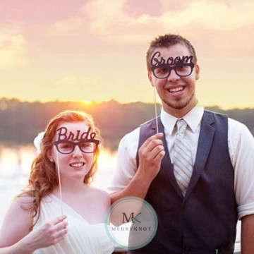 Wedding Groom & Bride DIY Photobooth Prop image