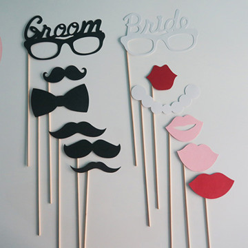 Wedding Groom & Bride 8pcs set DIY Photobooth Prop image