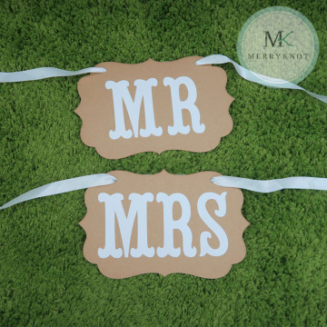 Mr & Mrs Wedding Chair Sign image