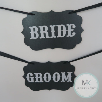 Bride & Groom Wedding Chair Sign image