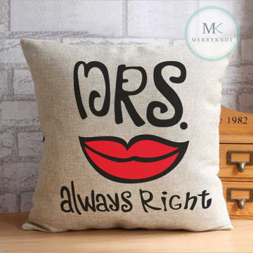 Mrs Always Right [Graphic] Cushion Cover image