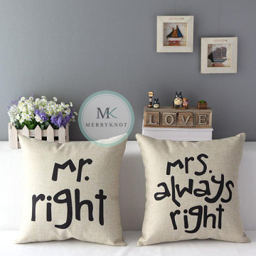 Mr and Mrs Right Cushion Cover image