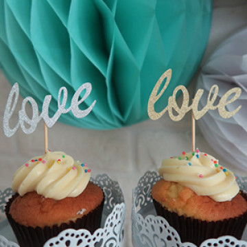 Silver / Gold Love cupcake topper image