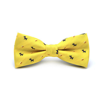 Children Dog Print Bow Tie (Yellow) image
