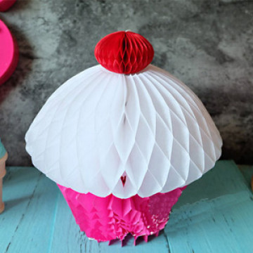 Cupcake 20cm Honeycomb Ball Decoration image