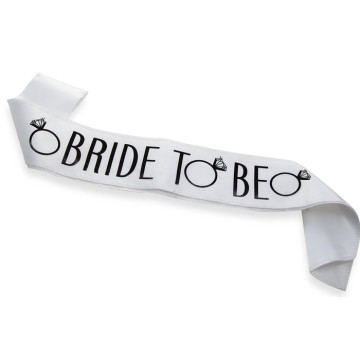 Bride to be Sash - White/Black image