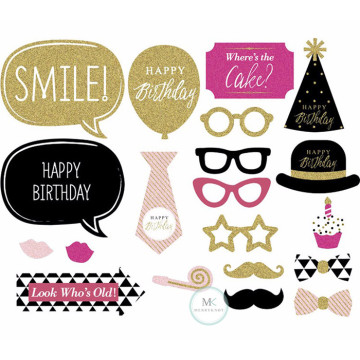 Happy Birthday (Glitter) 20PCS Set Photobooth Prop image
