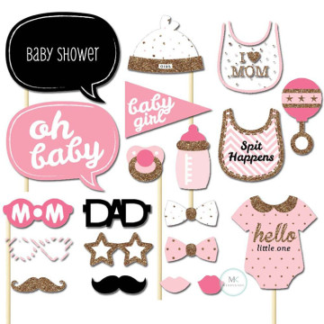 Hello little one baby shower girl 20PCS Set Photobooth Prop image