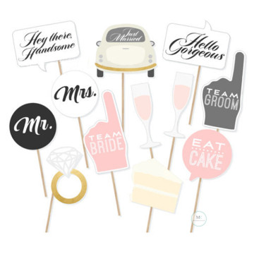 Just Married 12PCS Set Photobooth Prop image