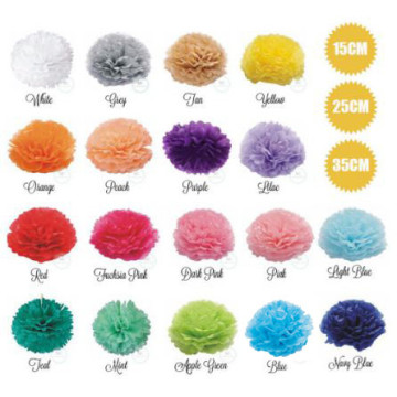 Flower Paper Pom Pom Decoration [15CM/25CM/35CM] image