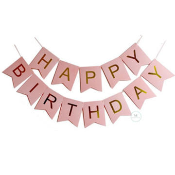 Happy Birthday Banner Pink with Gold letters image