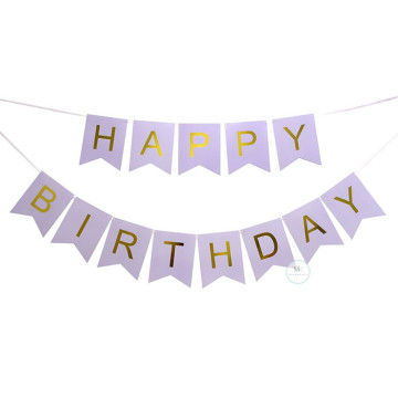 Happy Birthday Banner Lilac with Gold letters image