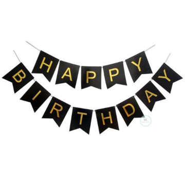 Happy Birthday Banner Black with Gold letters image