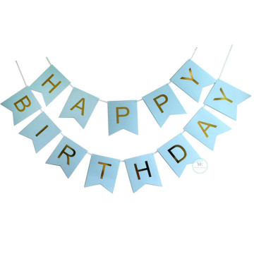 Happy Birthday Banner Blue with Gold letters image