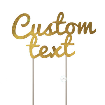 Customized Cake Topper- Holographic Gold image