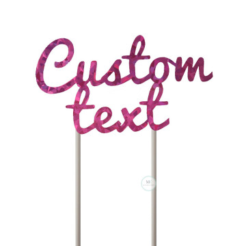 Customized Cake Topper- Holographic Pink image