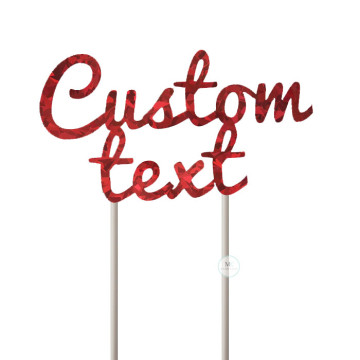 Customized Cake Topper- Holographic Red image