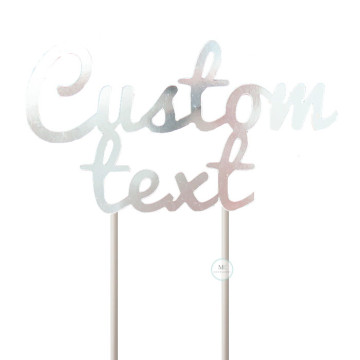 Customized Cake Topper- Mirror Silver image