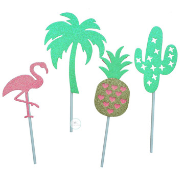 Flamingo Tropical cake topper image