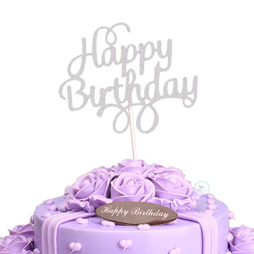 Happy Birthday cake topper [Silver] image