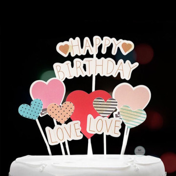 Happy Birthday Heart Cake topper set image