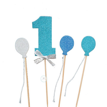 1 blue balloon cake topper set image