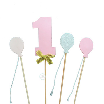 1 pink balloon cake topper set image