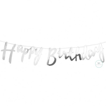 Happy Birthday Banner Silver image
