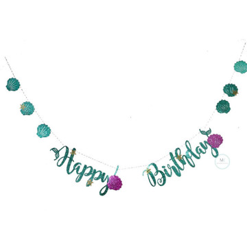 Happy Birthday Banner Mermaid shell garland image