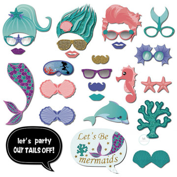 Mermaid 26PCS Set Photobooth Prop image