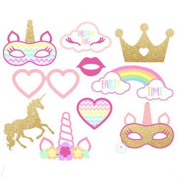 Unicorn Party time 10PCS Set Photobooth Prop image