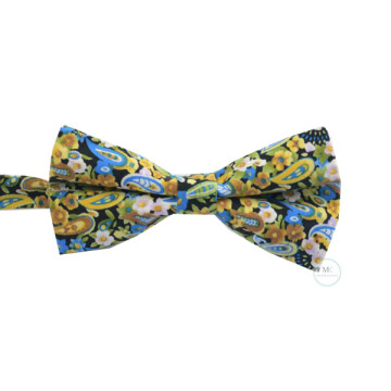 Floral and Paisley Bow Tie in Black & Gold image