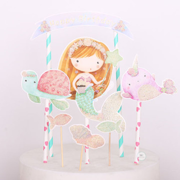 Birthday Mermaid Cake topper set image