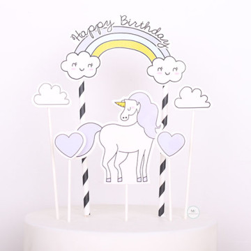 Purple Unicorn Birthday cake topper set image