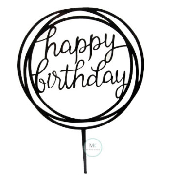 Acrylic Birthday Cake Topper [Black] image