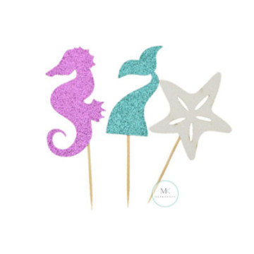 Mermaid cupcake topper set image