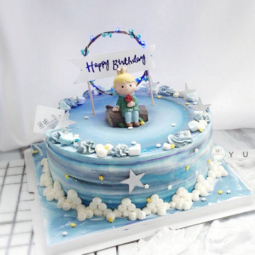 Garland Light Birthday Cake Topper [Blue] image