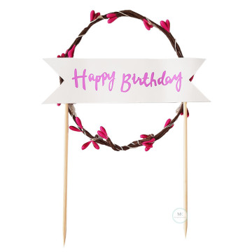 Garland Light Birthday Cake Topper [Pink] image
