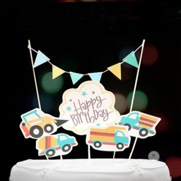 Happy Birthday Car Cake topper set image