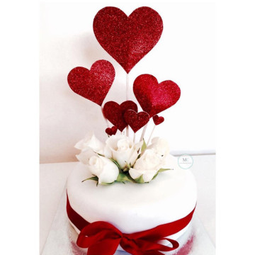 Red Heart cake topper set image