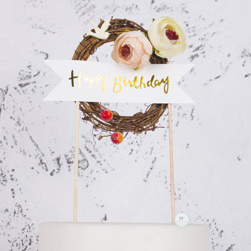 Happy Birthday Rustic Cake topper image