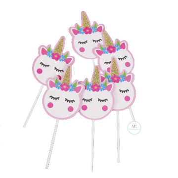 Unicorn Head cupcake topper set image