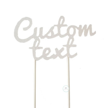 Customized Cake Topper- Glitter White image
