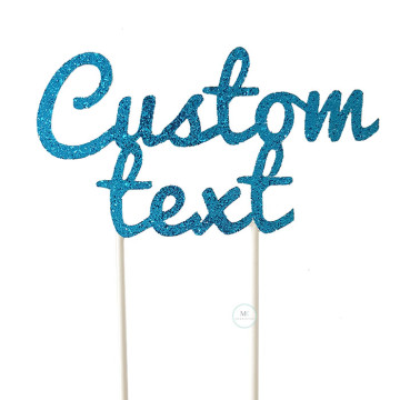 Customized Cake Topper- Glitter Aqua Blue image