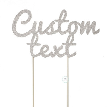 Customized Cake Topper- Glitter Silver image