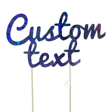 Customized Cake Topper- Holographic Blue image