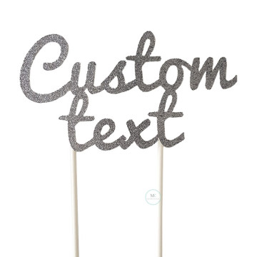 Customized Cake Topper- Glitter Silver Grey image